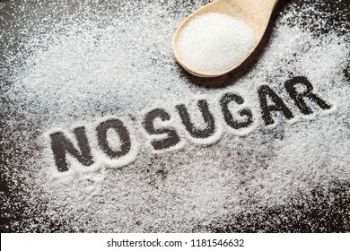 Diet and weight loss, denial of sweet. No sugar text with concept. Sugar description in black. Cooking, sweets. Diabetes problems, harm from eating, dependence on flavoring. Pain in the teeth, caries