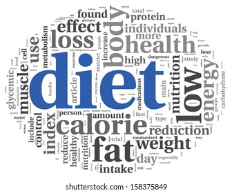 Diet words concept in tag cloud on white