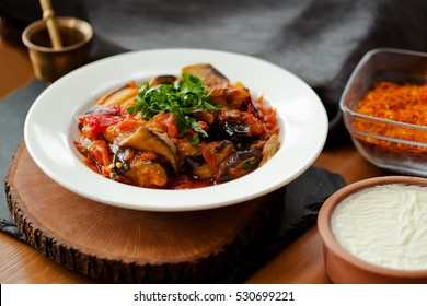 Dietary cuisine - Vegetable rague with eggplant, pepper and carrot