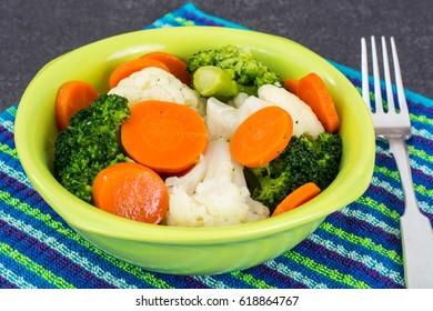 Dietary food steamed vegetables. Studio Photo