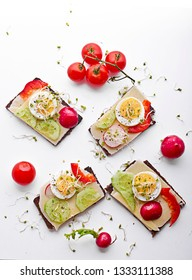 Dietary sandwiches. Dark bread, salads, eggs, cheese and tomatoes