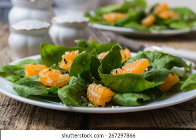 dietary spinach salad and Mandarin oranges with lemon dressing a