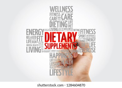 Dietary Supplements word cloud with marker, health cross concept background