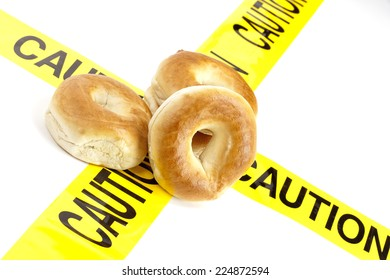 Dietary warning or gluten/wheat allergy warning (Fresh Bagels on top of the yellow caution tape)