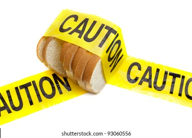 Dietary warning or gluten/wheat allergy warning (Slices of bread wrapped in yellow caution tape)