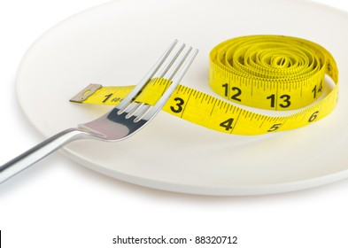 Dieting concept with fork and meter