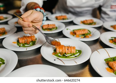 dieting concept, fresh salmon fish steaks with spices and herbs