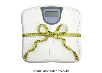 Dieting concept. A scale with a tape measure wrapped around it tied in a bow. The display window is blank for your own numbers or text. White background.