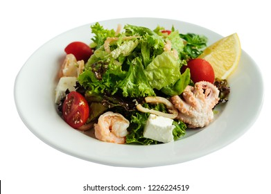 Dieting fresh seafood salad isolated on a white