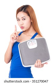 Dieting, Women with weight scale.