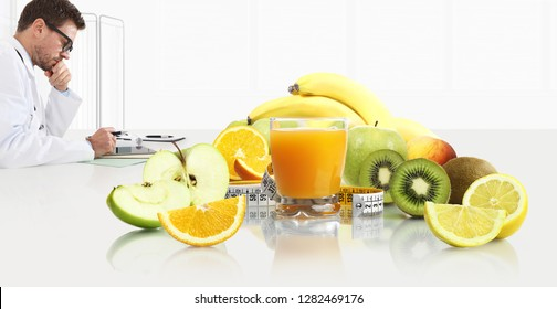 dietitian nutritionist doctor prescribes prescription by consulting the digital tablet at the desk office with fruits, glass juice and tape meter, healthy and balanced diet concept, white copy space