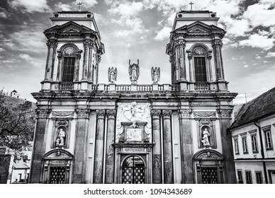 Dietrichstein tomb, Mikulov, Czech republic. Religious architecture. Travel destination. Black and white photo.