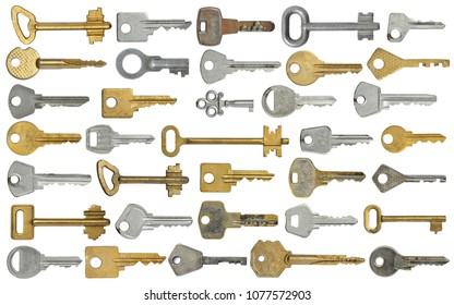 DifferDifferent old keys on white isolated background.Set for the designer.ent old keys on white isolated background.Set for the designer.