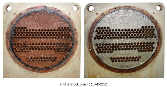 The difference between Heat Exchanger and Condenser Copper Tubes before washing and after cleaning the scale and rust with chemicals. Compare concept.