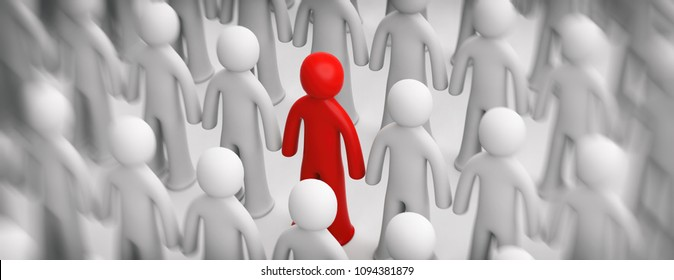 Difference, differentiation concept. Blur crowd of white human figures, one red figure on white background, banner. 3d illustration