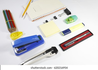 Difference office items isolated on white background