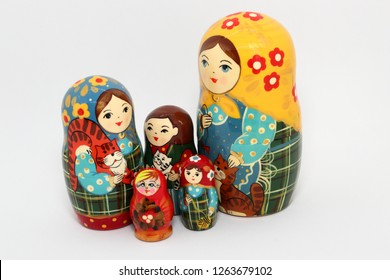 Difference size cute mini matryoshka, Russian nesting dolls, stacking dolls Isolated on white background.