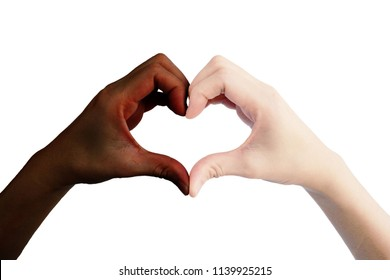 Difference of skin color from hand of woman show both hand is heart shape for love isolated on white background
