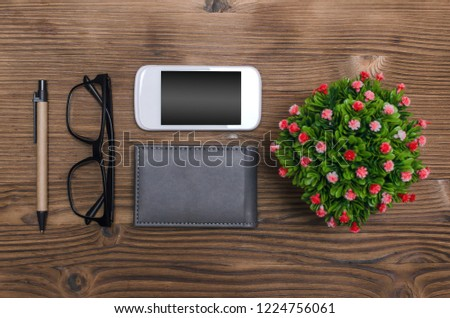 Different Accessories On Office Table Mobile Stock Photo Edit Now