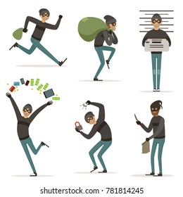 Different actions scenes with cartoon bandit. mascot of thief in action poses. Illustrations of robbery or raid, , crime character theft with money