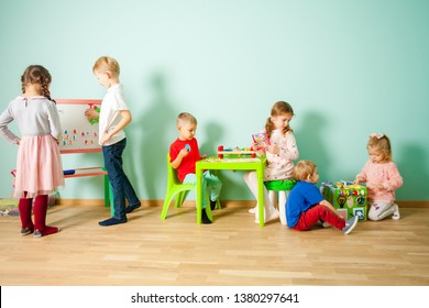 Different age kids at homeschooling at home or daycare.