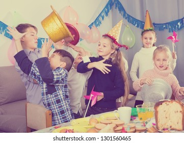 different ages kids having good time during friend's birthday party