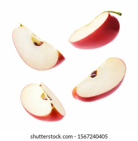 Different angle of slices red apple isolated on white background - Shutterstock ID 1567240405