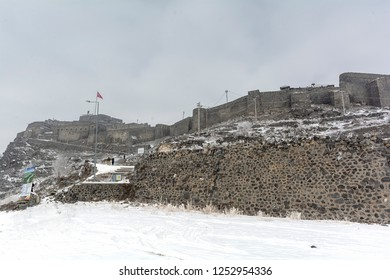 Different angle view of Kars city and castle. Kars is a city in northeast Turkey and the capital of Kars Province.