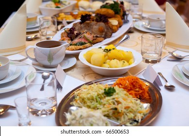Different appetizing food from table at the wedding reception