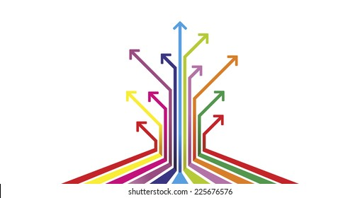 different arrows with different colors as illustration