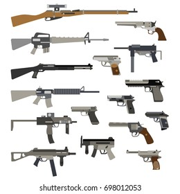 Different automatic weapons. of guns and pistols. Military rifle and revolver, machine gun illustration