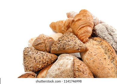 Different bakery products on white background