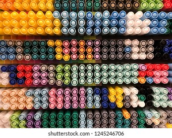 a lot of different ballpoint pens, top view - Shutterstock ID 1245246706