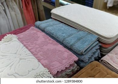 The Different bath mats in the store