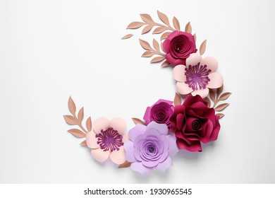 Different beautiful flowers and branches made of paper on white background, top view