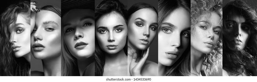 Different beautiful models. beauty black and white collage of beautiful women. beautiful girls