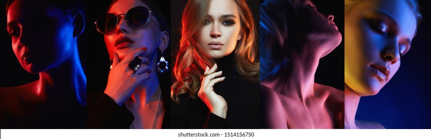 Different beautiful models. colorful beauty collage of beautiful women.Girls in Colors