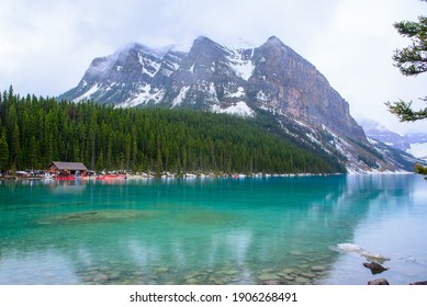 Different beautiful views of Lake Louise, a glacial lake within Banff National Park in Alberta, Canada