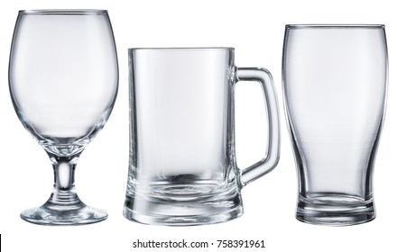 Different beer glasses. File contains clipping path.