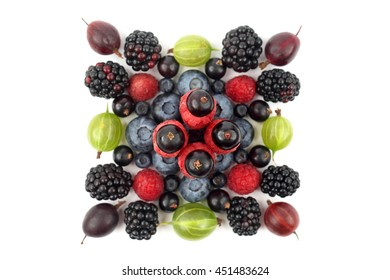 different berries in the form of a square on a white background