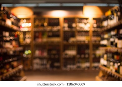 Different beverages are in drink store as blurry or blurred background.