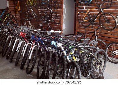 Different bicycles in shop
