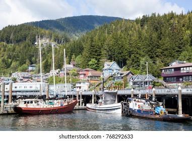 Different boats moored in Ketchikan town marina (Alaska).
