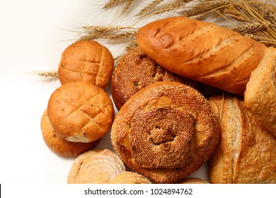 different bread with ears on a white background