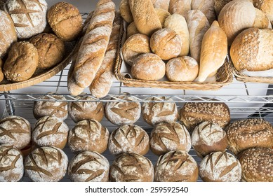 different breads on display