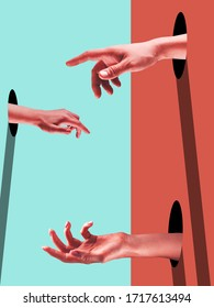 Different. Bright painted human hands touching by fingers. Contemporary art collage. Modern design work in vibrant trendy colors. Stylish and fashionable composition, youth culture. Copyspace.