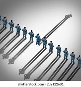 Different business thinking and independent thinker concept and new leadership concept or individuality as a group of people cast shadows with the shadow of one businessman in the opposite direction.