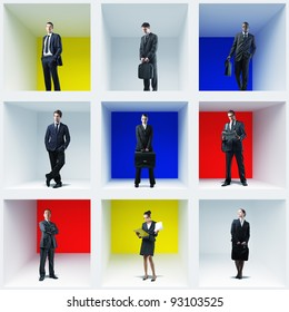 different businesspeople in colorful box 3d