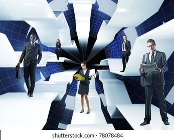 different businesspeople on 3d web concept