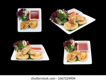 Different camera view Fish cakes isolated on black.